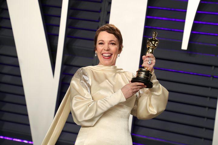 Olivia Colman at the Academy awards