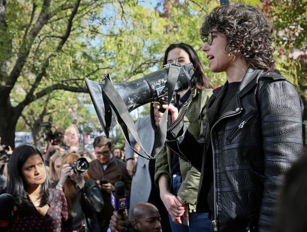Claire Stapleton (left) and Meredith Whittaker (right) addressing Google employees at the walkout in