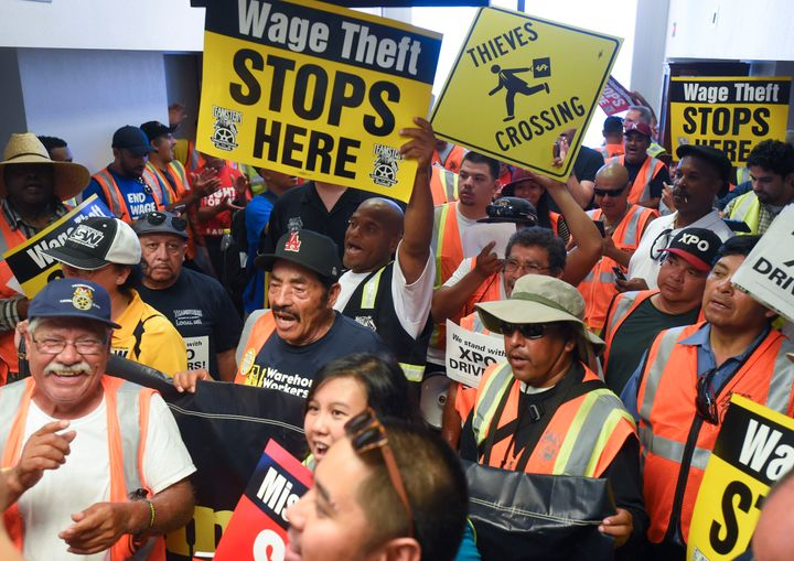 Workers protest wage theft in Orange County, California, in 2017.