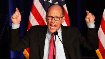Tom Perez, Chairman of the Democratic National Committee, introduces Minority Leader Nancy Pelosi of Calif., as he speaks about Democratic wins in the House of Representatives to a crowd of Democratic supporters during an election night returns event at the Hyatt Regency Hotel, on Tuesday, Nov. 6, 2018, in Washington. (AP Photo/Jacquelyn Martin)