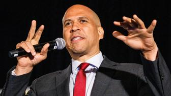 ATLANTA, GA - JUNE 06: Democratic presidential candidate Sen. Cory Booker (D-NJ) speaks to a crowd at the African American Leadership Council on June 6, 2019 in Atlanta, Georgia.The DNC hosted its African American Leadership Council (AALC) Summit held at the Westin Peachtree Plaza in downtown Atlanta. (Photo by Dustin Chambers/Getty Images)