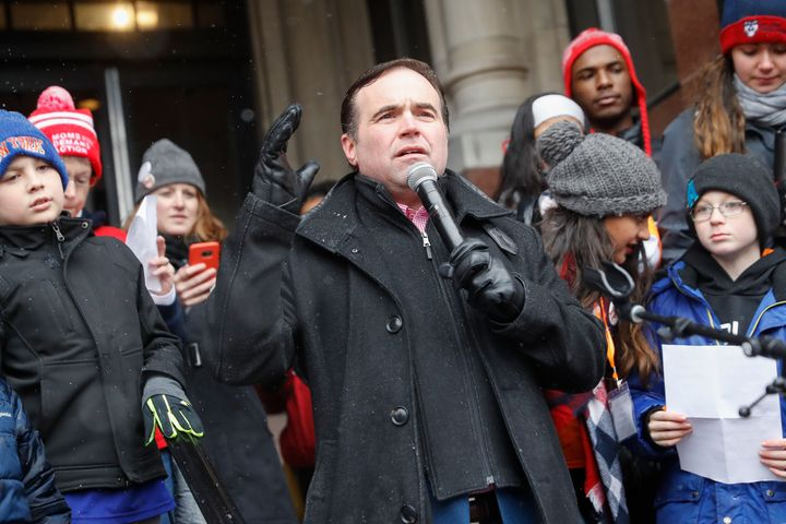 "Cincinnati Mayor John Cranley, who sued the state of Ohio on Thursday, speaks outside city hall during the ""March for Our Liv"