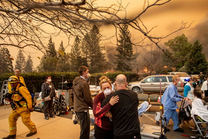 Nurses work during the devastating Camp fire that blazed in California last November.