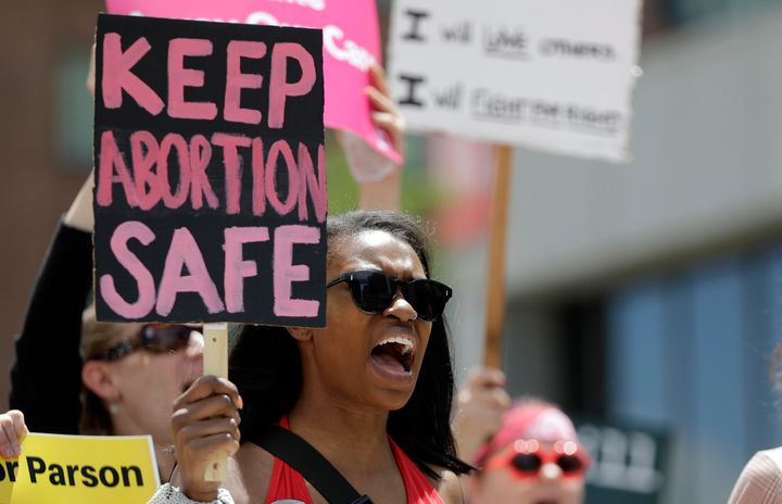 Abortion rights supporters protest in May in St. Louis, Mo. The state is on the verge of losing its only abortion clinic at a