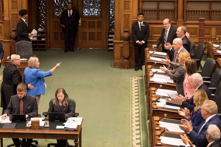 Ontario NDP LeaderAndreaHorwathis ejected from the legislature as part of a protest against the government's law that cut the size of Toronto city council on Sept. 12, 2018.