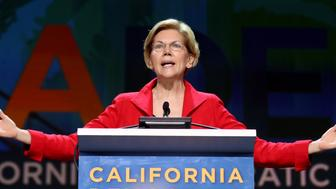 SAN FRANCISCO, CALIFORNIA - JUNE 1: Democratic presidential candidate U.S. Senator Elizabeth Warren (D-MA) speaks during Day 2 of the California Democratic Party Convention at the Moscone Convention Center in San Francisco, Calif., on Saturday, June 1, 2019. (Photo by Ray Chavez/MediaNews Group/The Mercury News via Getty Images)