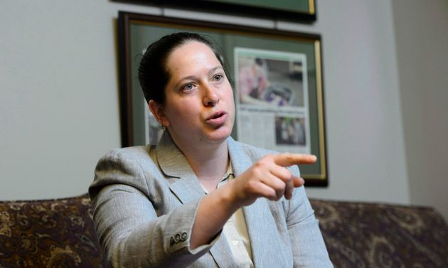 NDP MPChristineMooretakes part in an interview in her office in Ottawa on May 11,