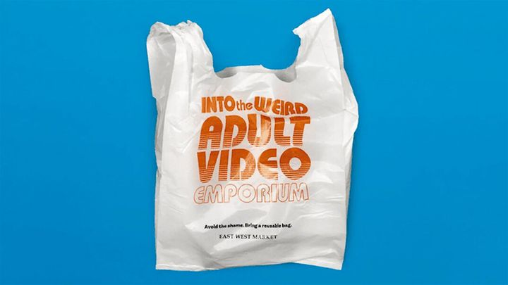 The plastic bags feature slogans meant to be embarrassing to customers.