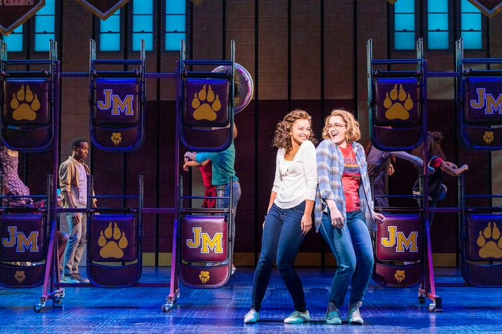 The musical stars Caitlin Kinnunen, right, andIsabelle McCalla as a same-sex teen couple banned from attending their pr