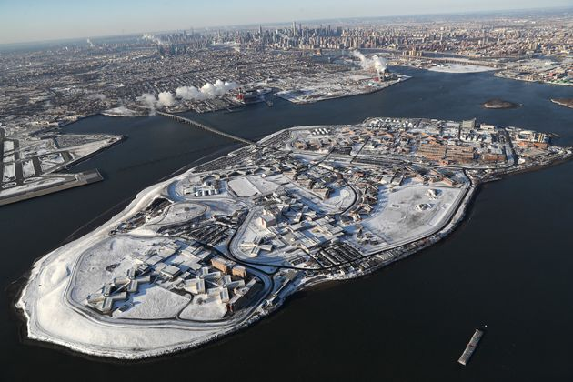 Rikers Island jail complex is dusted by snow in January