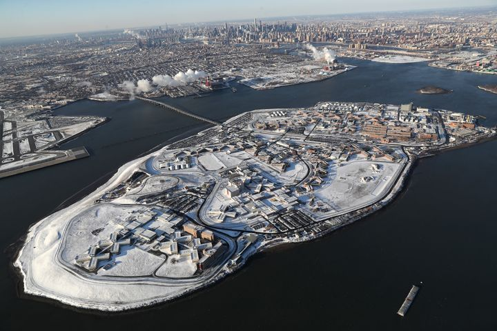 Rikers Island jail complex is dusted by snow in January 2018.