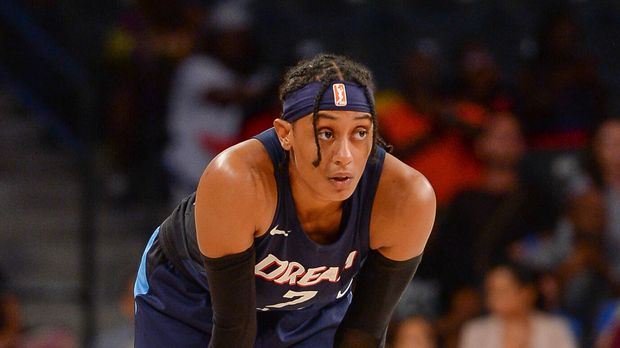ATLANTA, GA  AUGUST 26: Atlantas Brittney Sykes (7) catches her breathe during a break in the action during the WNBA semi-final playoff game between Atlanta and Washington on August 26th, 2018 at Hank McCamish Pavilion in Atlanta, GA. The Washington Mystics defeated the Atlanta Dream by a score of 87  84.  (Photo by Rich von Biberstein/Icon Sportswire via Getty Images)