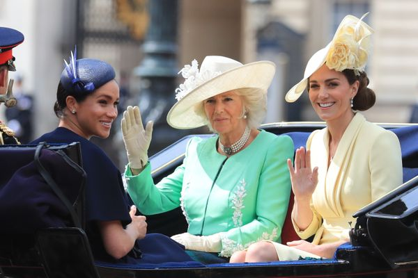 Camilla, Duchess of Cornwall, and Catherine, Duchess of Cambridge, joined Prince Harry and Meghan in the carriage.