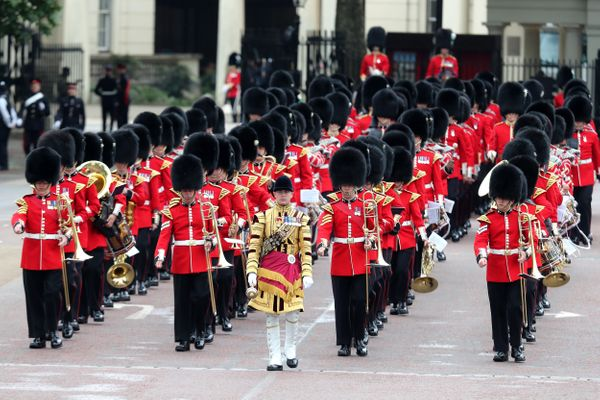 Members of the Welsh Guards, a regiment of Household Division, march to the ceremony.