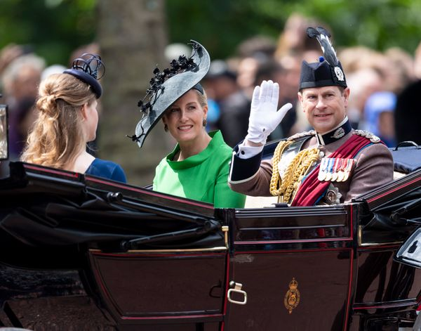 Lady Louise Windsor rode in another carriage with Sophie, Countess of Wessex, and Prince Edward, Earl of Wessex.