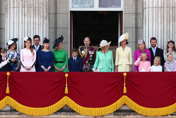 Members of the royal family wave from the balcony of Buckingham Palace at the conclusion of the Trooping the Colour ceremony.