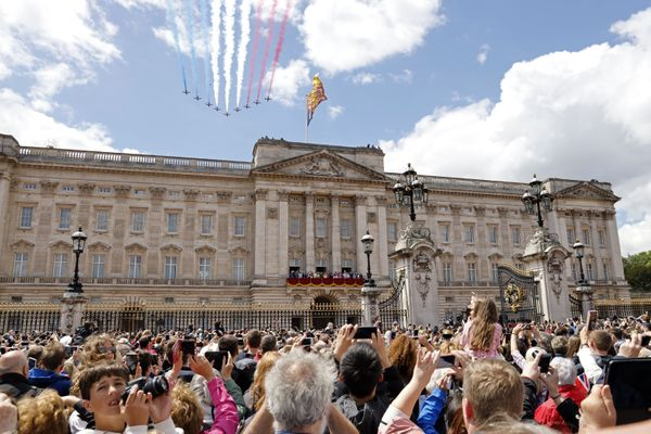 Britain's Red Arrows, the flying display team of the Royal Air Force, fly over Buckingham Palace.