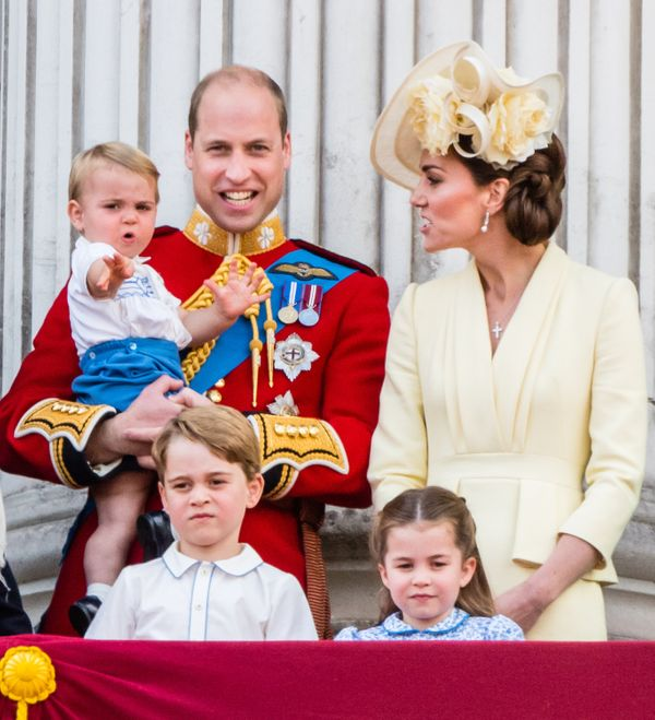 Prince Louis, Prince George, Prince William, Duke of Cambridge, Princess Charlotte and Catherine, Duchess of Cambridge, appea