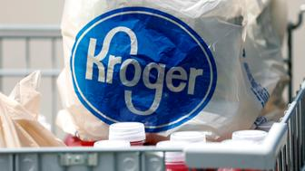 FILE - This June 15, 2017, file photo shows bagged purchases from the Kroger grocery store in Flowood, Miss. Nuro and grocery chain Kroger are teaming up to bring unmanned delivery service to customers. The companies said Tuesday, Dec. 18, 2018, that Nuro's unmanned vehicle, the R1, will be added to a fleet of autonomous Prius vehicles that have run self-driving grocery delivery service in Scottsdale, Ariz., with vehicle operators since August. (AP Photo/Rogelio V. Solis, File)