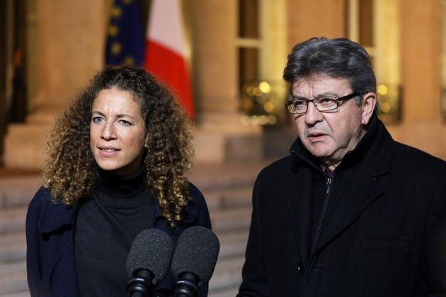Charlotte Girard et Jean-Luc Mélenchon devant l'Élysée, le 21 novembre