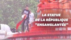 La statue de la République recouverte de faux sang contre les