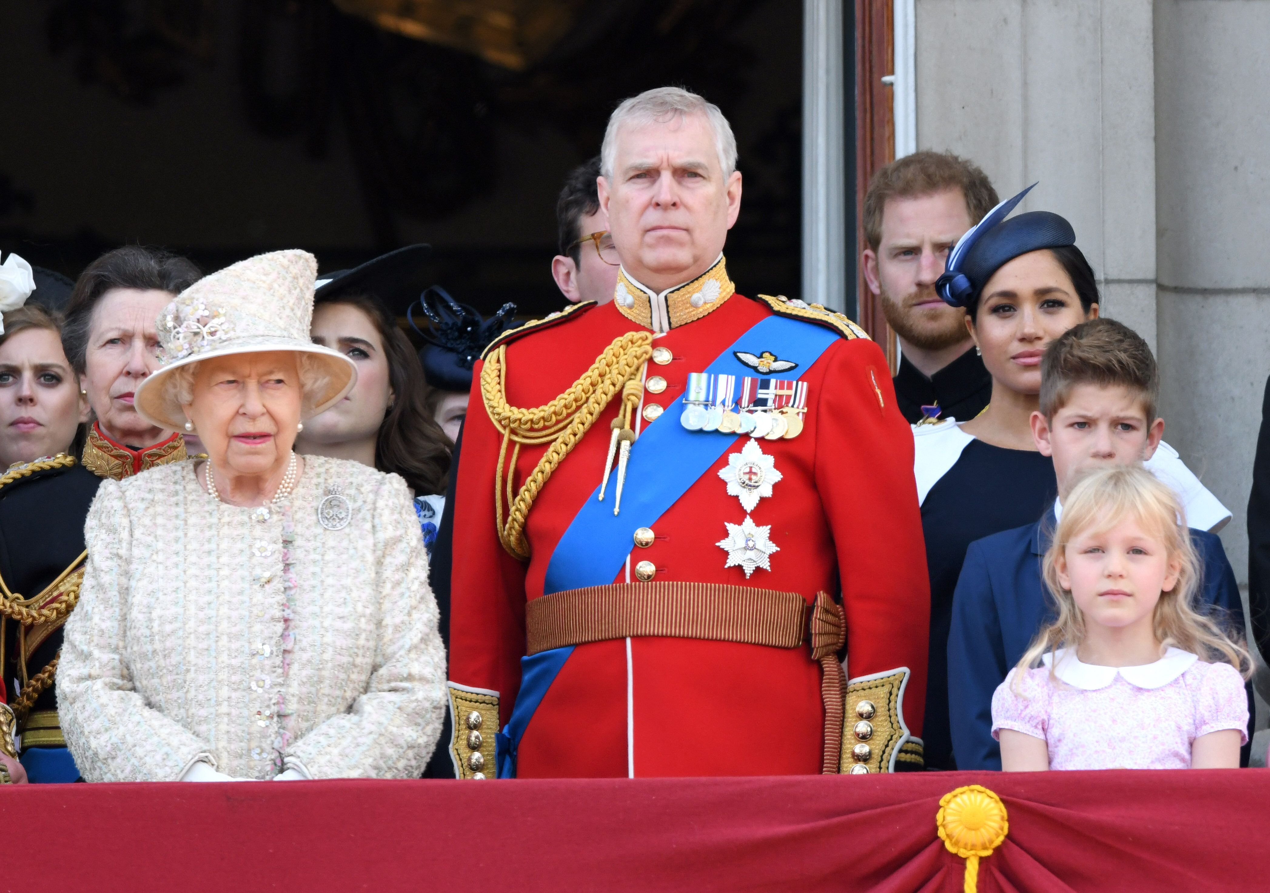 The Queen and Prince Andrew pictured on the balcony for Trooping the Colour 2019, while Prince Harry and Meghan Markle stand behind them