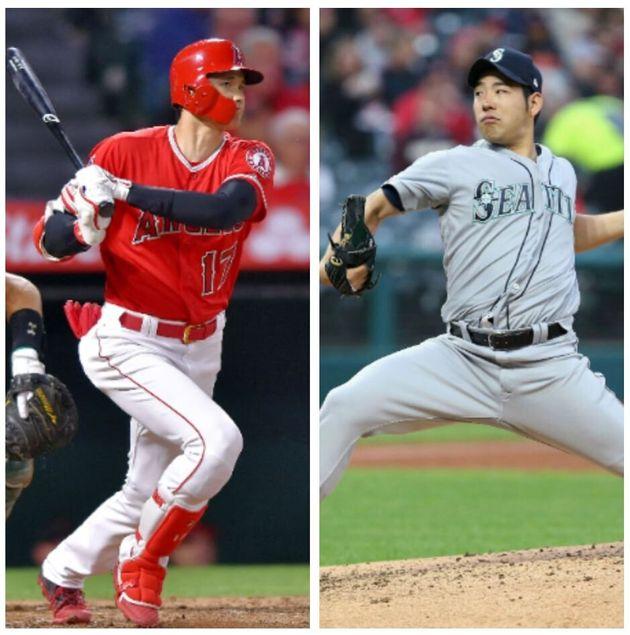 メジャーリーグで初対決となった大谷翔平選手(左)と菊池雄星投手