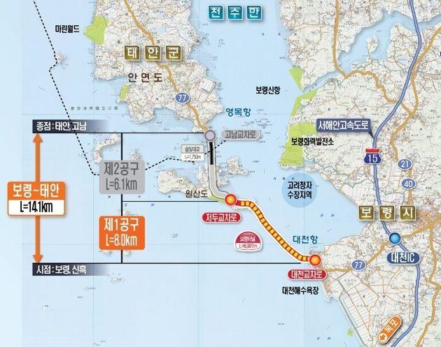 보령-태안 국도와 보령해저터널 구간도.