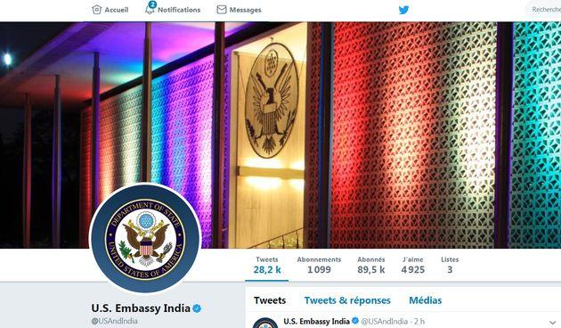 La couverture du compte Twitter de l'ambassade américaine à New-Delhi en hommage au mois...