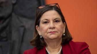 Mexican Ambassador to the US Martha Barcena Coqui attends a press conference with the Mexican delegation negotiating tariffs with US officials on June 3, 2019 at the Mexican embassy in Washington,DC. (Photo by Eric BARADAT / AFP)        (Photo credit should read ERIC BARADAT/AFP/Getty Images)
