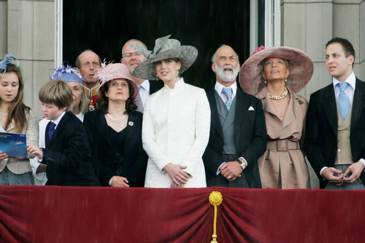 Dr. Sylvana Tomaselli, third from the left in a pink hat, watched the Trooping the Colour celebrations in June 2007. Her husband, George Windsor, Earl of St. Andrews, is behind her, wearing glasses.