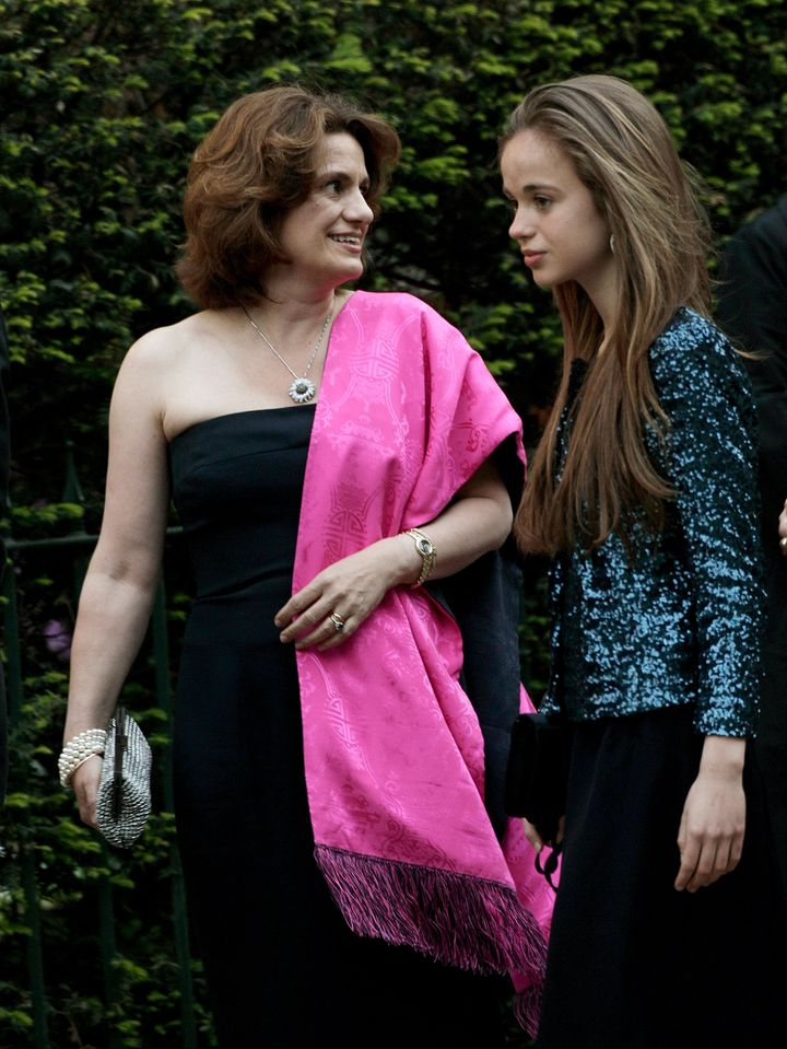 Sylvana Tomaselli with her daughter, Amelia Windsor, on the eve of Prince William and Kate Middleton's wedding, in April 2011.