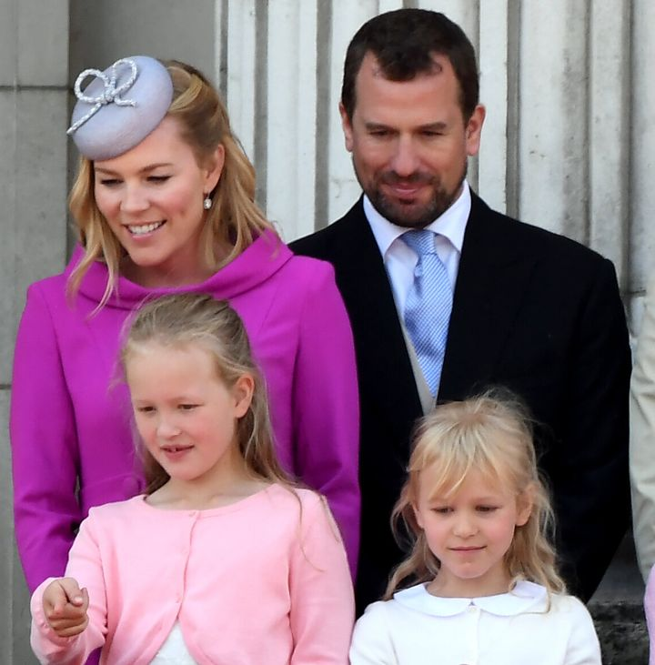 Autumn and Peter Phillips with their children Savannah and Phillips at Trooping the Colour at Buckingham Palace on Saturday.