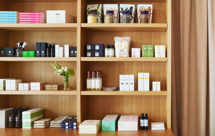 The beauty and skincare products available at the Goop store in Toronto. Several Beautycounter products can be seen on the second shelf up from the bottom, on the right.