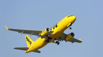 Chicago, Illinois, USA - July 12, 2015: Spirit Airlines Airbus A320 jetliner departing Chicago O'Hare International Airport. Spirit Airlines is one of the fastest growing low cost carriers in the USA