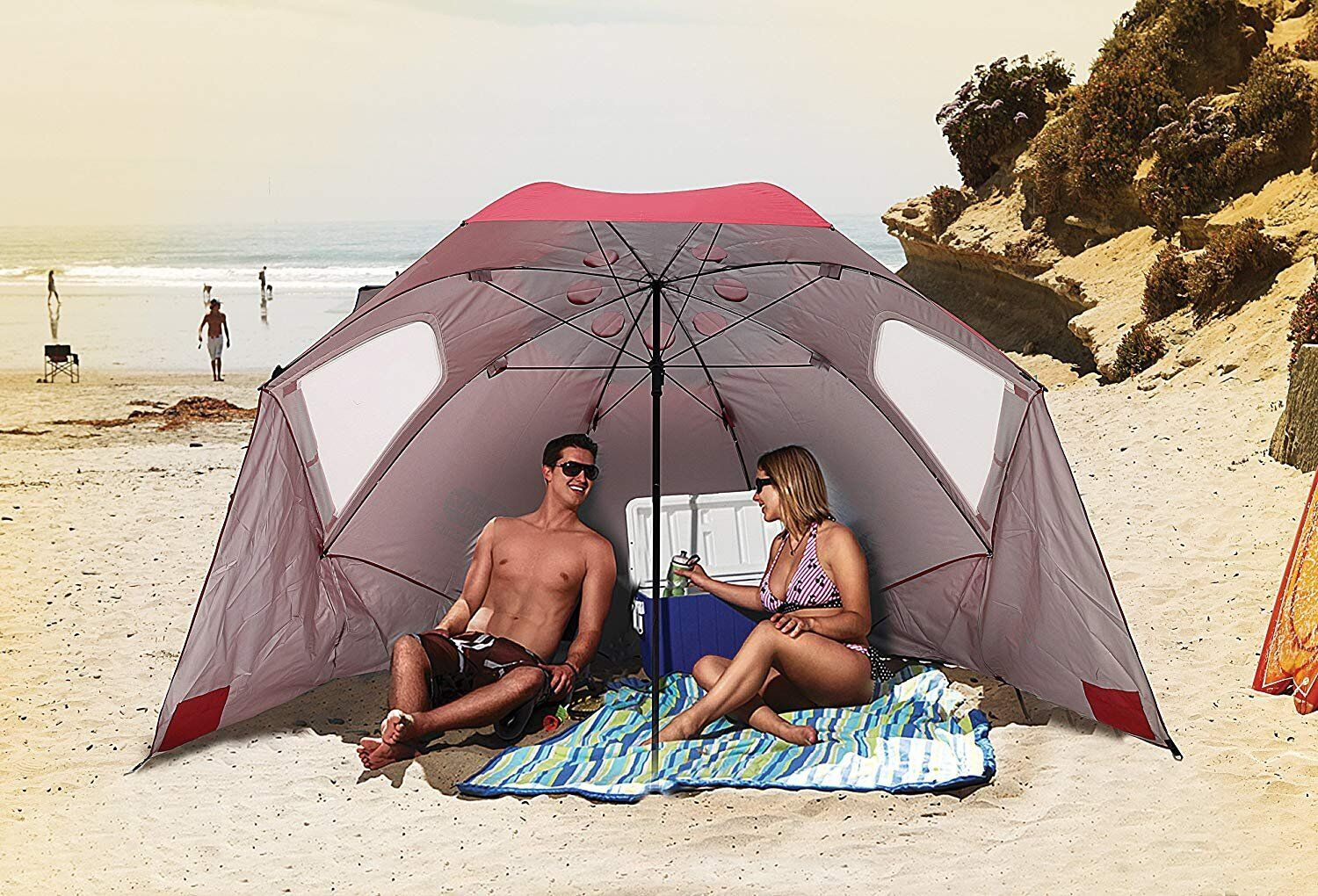 The Sport-Brella comes in red, blue and turquoise (Photo: Amazon)
