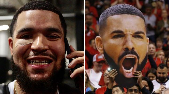 Fred VanVleet shows off his chipped tooth, left. Toronto Raptors fans hold up a Drake sign, right.