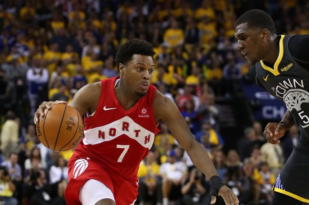 Kyle Lowry handles the ball during Game Four of the 2019 NBA Finals on June 7,