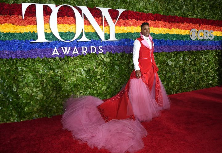 """Billy Porter arrives at the 2019 Tony Awards in a Celestino Couture gown made from the stage curtain of the musical """"Kinky Bo"""