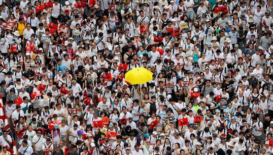 홍콩 '중국에 범죄인 인도 조약 개정' 반대 집회가