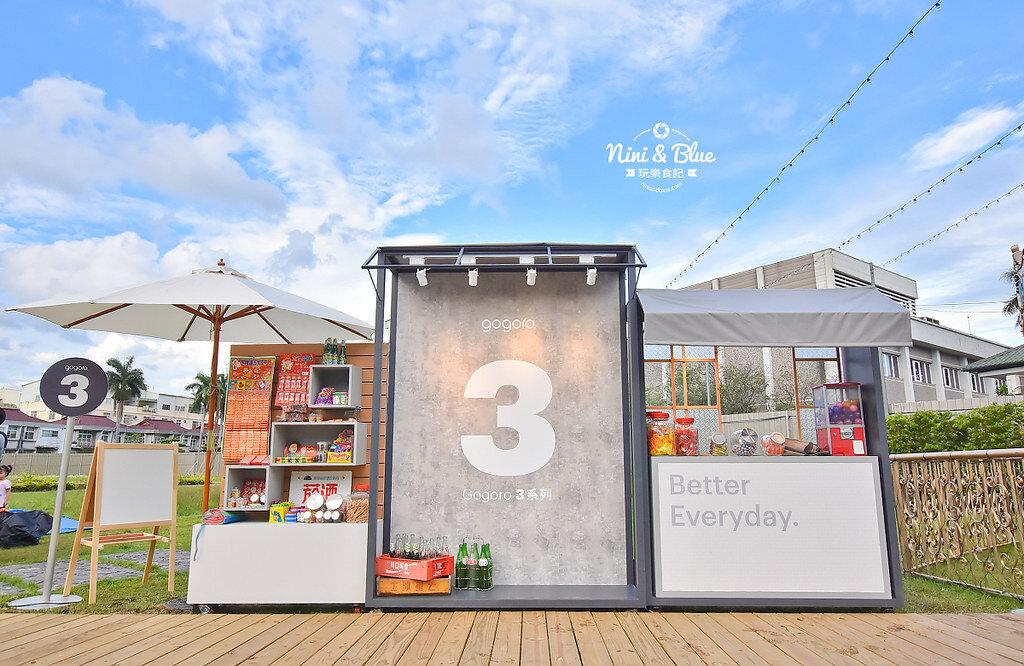 一旁是gogoro3 柑仔店的拍照打卡區和試乘體驗區