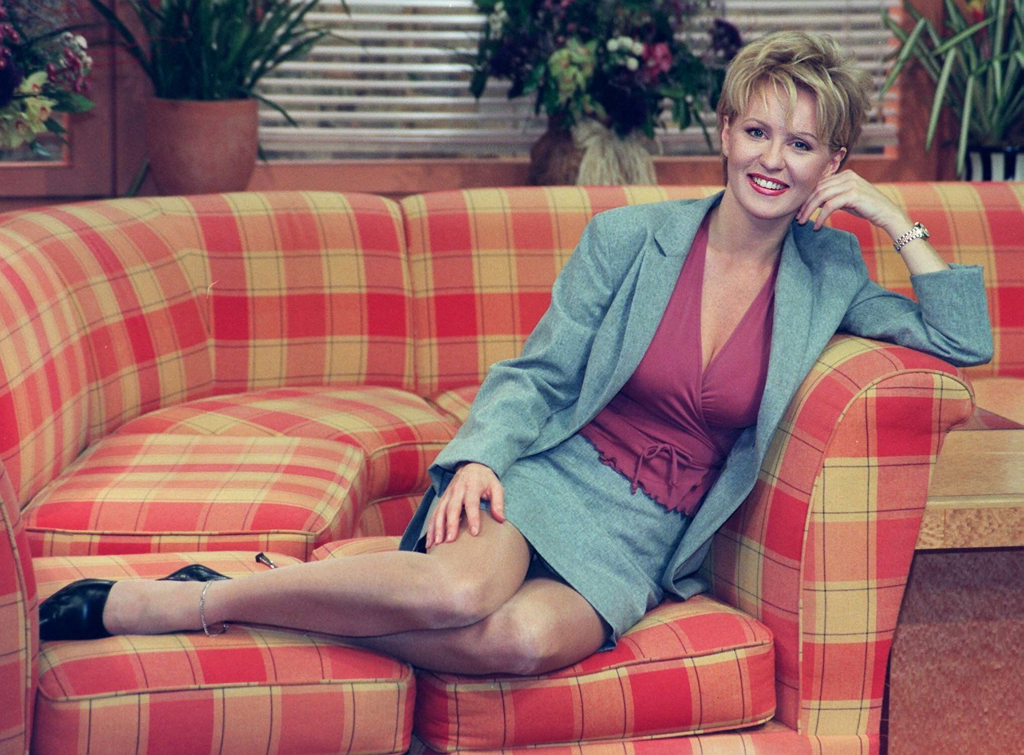 Esther McVey tries out the GMTV couch, at the breakfast station, as she prepares to take over from presenter Fiona Phillips who is taking maternity leave. Fiona, who is married to GMTV's chief correspondent, Martin Frizell, is expecting her first child in May.   * and will leave the station on April 9.