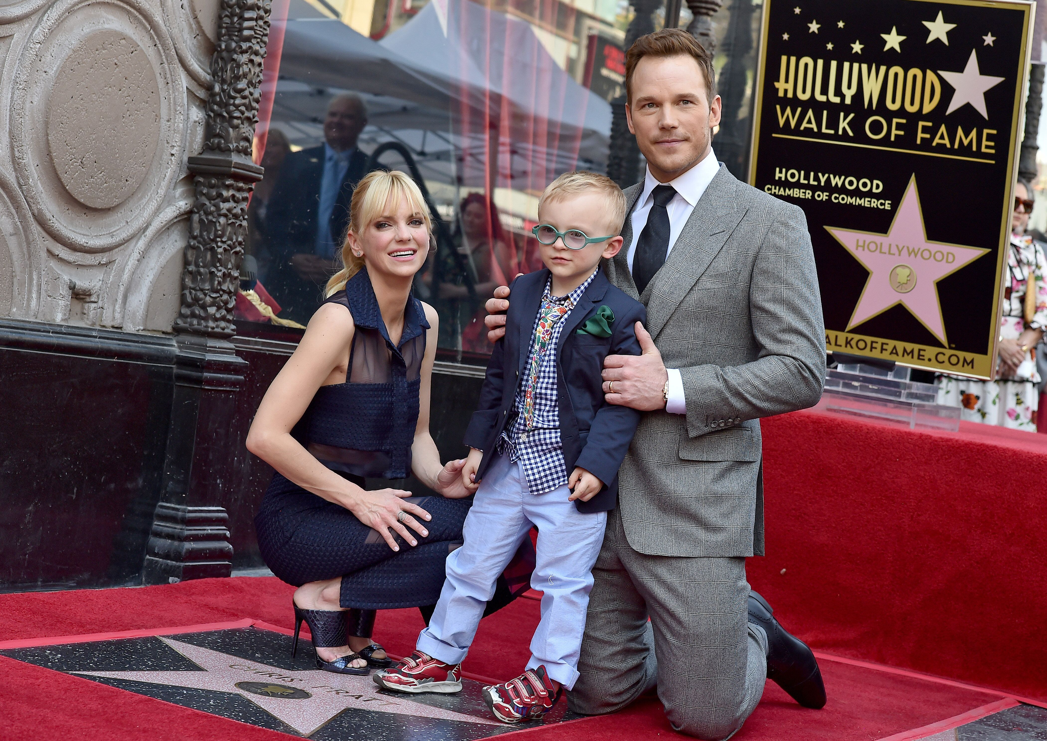HOLLYWOOD, CA - APRIL 21:  Actor Chris Pratt, wife Anna Faris and son Jack Pratt attend the ceremony honoring Chris Pratt with a star on the Hollywood Walk of Fame on April 21, 2017 in Hollywood, California.  (Photo by Axelle/Bauer-Griffin/FilmMagic)