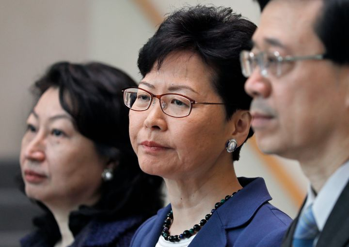 From right, Hong Kong Secretary for Security John Lee, Hong Kong Chief Executive Carrie Lam and Secretary of Justice Teresa C