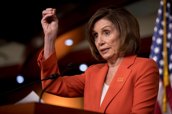 In this June 5, 2019, photo, House Speaker Nancy Pelosi of Calif., speaks to reporters at the Capitol in Washington. (AP Phot