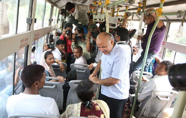 Manish Sisodia takes feedback from commuters on the free ride to women in DTC buses.