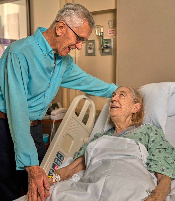 Frank Dewhurst, 84, and the recipient of his kidney: Linda Nall, 72.