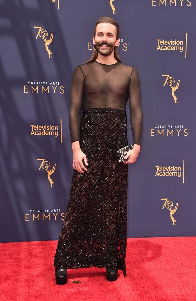 Jonathan Van Ness, making an entrance at the Creative Arts Emmys last