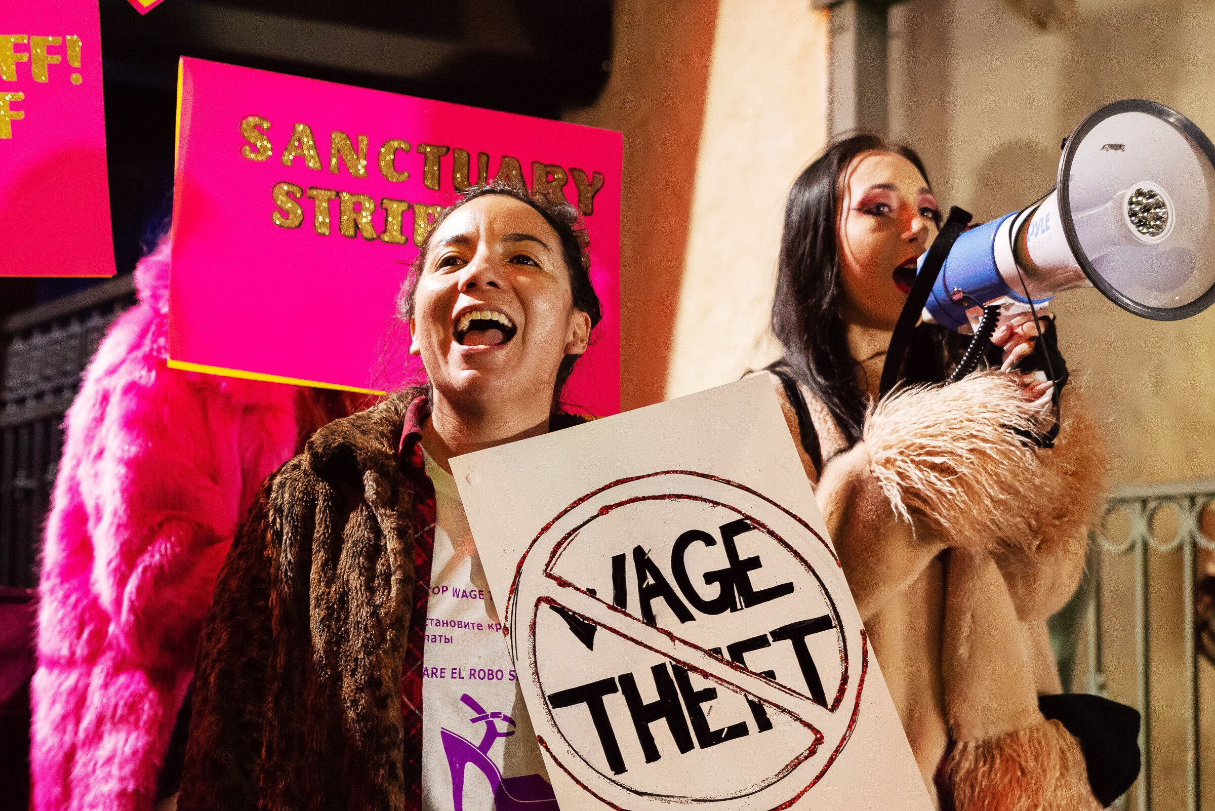 Exotic dancers protest in front of Crazy Girls strip club in Los Angeles on February 22, 2019.
