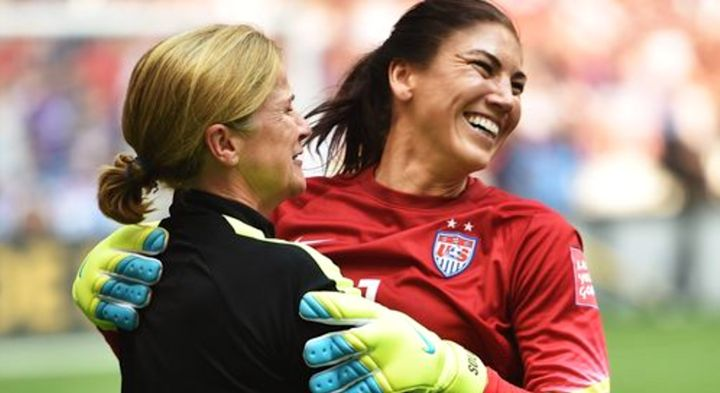 Jill Ellis and Hope Solo embrace in happier times -- right after the U.S. won the 2015 World Cup.